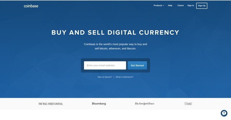 Coinbase Exchange Homepage